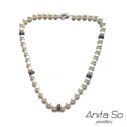 Picture of Anita So Fancy Pearl Necklace (purple rings)
