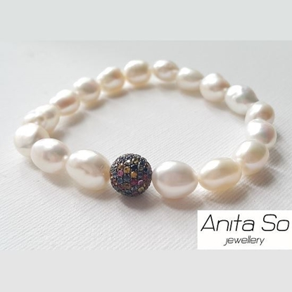 "Picture of Anita So ""Seed"" - Multicolour Sapphire with Freshwater Pearl Bracelet (A)"