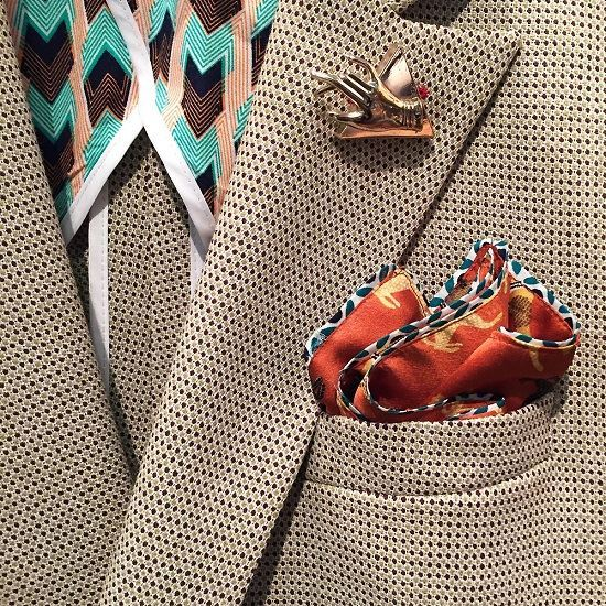 Picture of June Woonamy Egyptian Tiger Silky Pocket Square