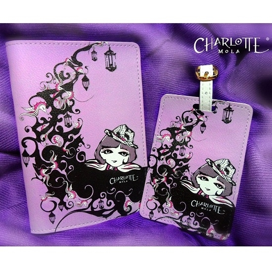 Picture of Passport Cover & Luggage Tag - Charlotte on the Moon - Charlotte Mola Travel Set