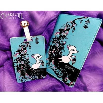 Picture of Passport Cover & Luggage Tag - Moon Kii on the Moon - Charlotte Mola Travel Set