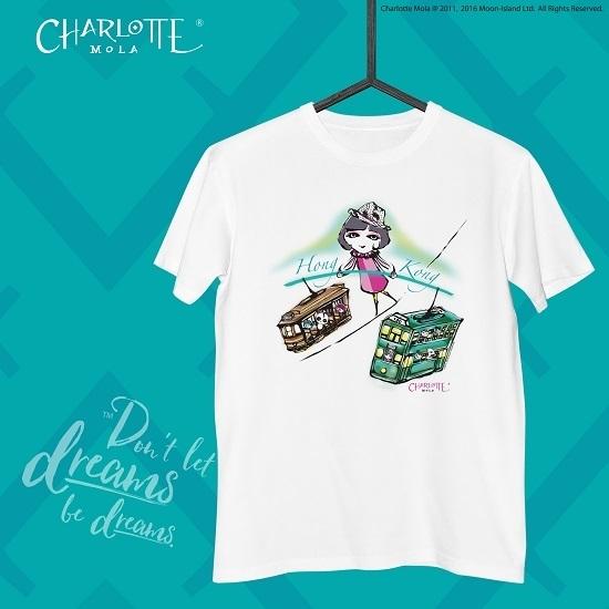 圖片 Charlotte Mola 直身短袖T恤 - 香港電車 (白) - M碼