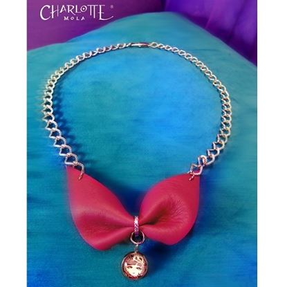 Picture of Charlotte Mola Leather Bow Short Necklace (Burgundy)