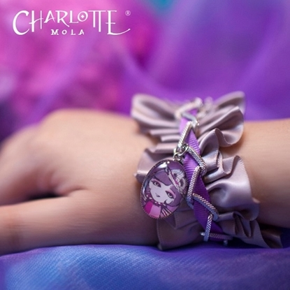 Picture of Charlotte Mola Ribbon Bracelet with Charlotte Charm (Purple)