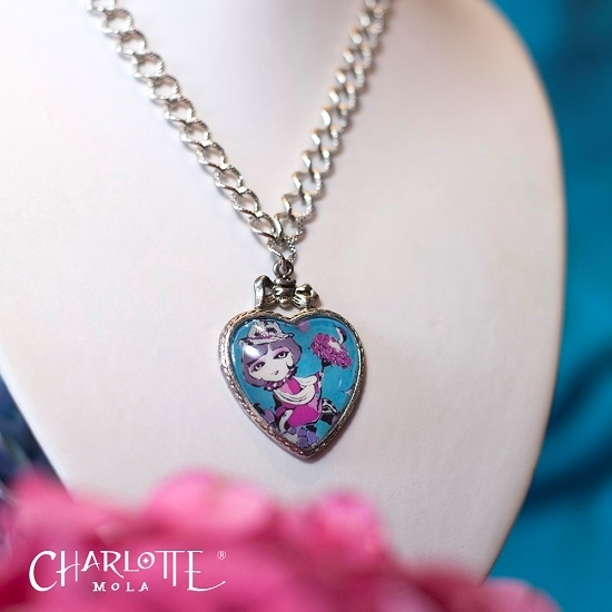 Picture of Charlotte Mola Heart Shape Rose-bird Short Necklace