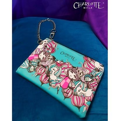 Picture of Charlotte Mola Handmade Grey Leather Pouch with Digital-printed Satin