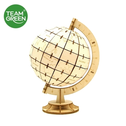 Picture of Globe 3D Plywood Puzzle - Team Green® JIGZLE®