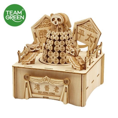 Picture of Bun Festival Music Box 3D Plywood Puzzle - Old HK Series - Team Green® JIGZLE®