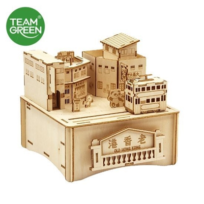 Picture of Old Streets and Alleys Music Box 3D Plywood Puzzle - Old HK Series - Team Green® JIGZLE®