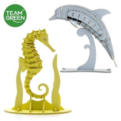 图片 海豚 + 海马 3D 立体纸拼图 - Team Green® JIGZLE®