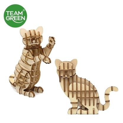 Picture of Cat + Standing Cat 3D Plywood Puzzle - Team Green® JIGZLE®