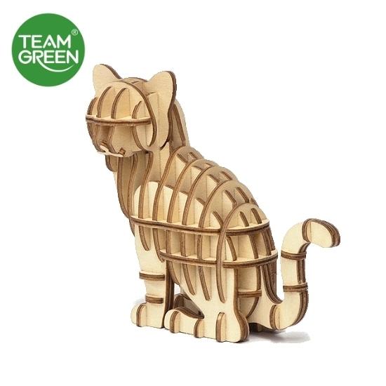 图片 猫 + 招手猫 3D 立体木拼图 - Team Green® JIGZLE®
