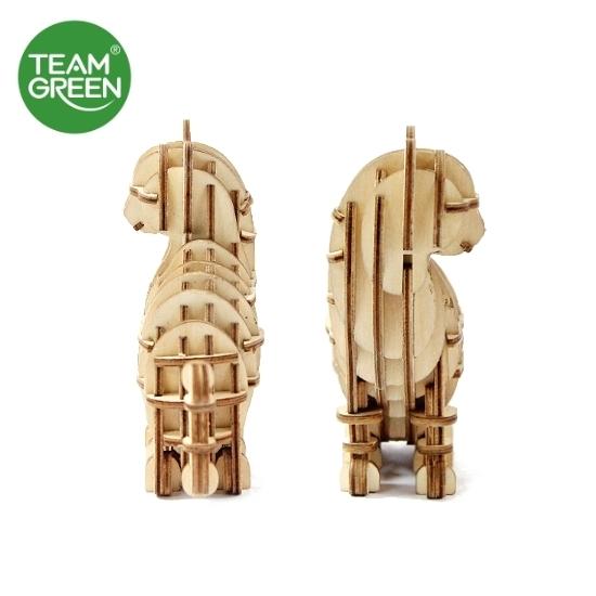 圖片 貓 + 招手貓 3D 立體木拼圖 - Team Green® JIGZLE®