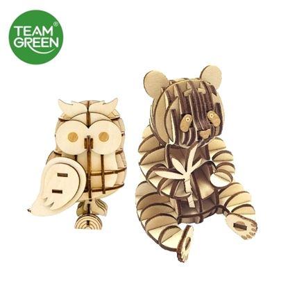 图片 熊猫 + 猫头鹰 3D 立体木拼图 - Team Green® JIGZLE®