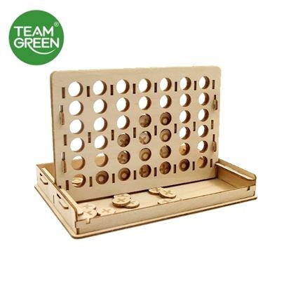 圖片 四子棋 3D 立體木拼圖 - Team Green® JIGZLE®