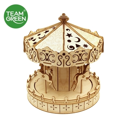 Picture of Mini Carousel 3D Plywood Puzzle - Team Green® JIGZLE®