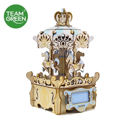 Picture of Merry-go-round Color Music Box 3D Plywood Puzzle - Team Green® JIGZLE®