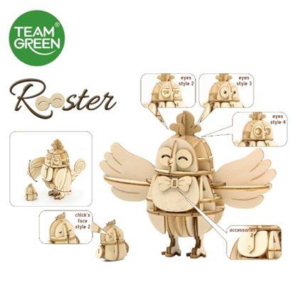 图片 小鸡 (6种表情) 3D 立体木拼图 - Team Green® JIGZLE®