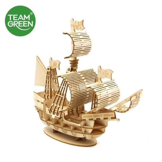 Picture of Sailing Ship 3D Plywood Puzzle - Team Green® JIGZLE®