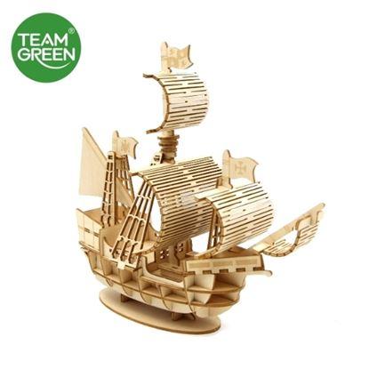 圖片 帆船 3D 立體木拼圖 - Team Green® JIGZLE®