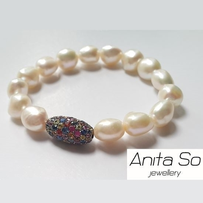 "Picture of Anita So ""Seed"" - Multicolour Sapphire with Freshwater Pearl Bracelet (B)"
